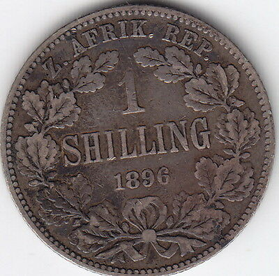 1896 South Africa Sterling Silver One Shilling Coin