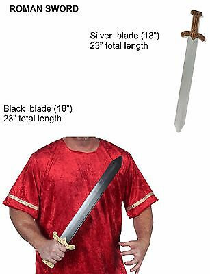 Roman Sword Silver OR Black Blade Weapon Plastic Durable Easter Costume Prop