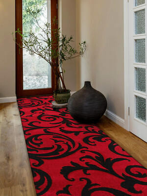 80x400cm Runner Modern Floor Rug ICONIC RED Thick Damask Mat IC709R