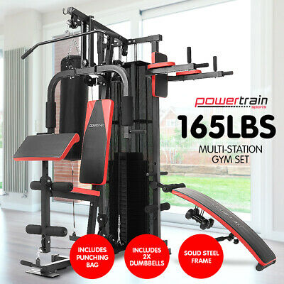 New Multistation Home Gym Exercise Equipment Total Workout Fitness Weights 480