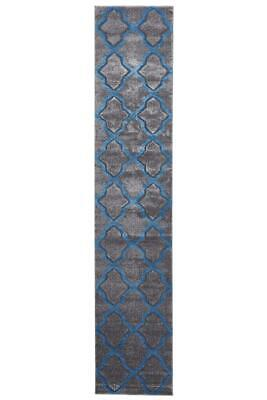 80x400cm Runner Modern Floor Rug ICONIC GREY BLUE Cross Hatch Trellis Mat IC713G