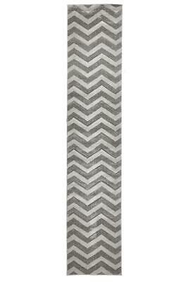 80x400cm Runner Modern Floor Rug ICONIC GREY Zig Zag Chevron Mat IC714S