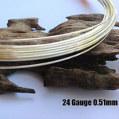 1 metre 24ga (0.5mm) Sterling Silver 925 Round Beading Wire Soft