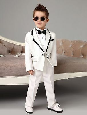 White Kid's 2 Piece Wedding Groom Tuxedos Flower Boys Children Party Prom Suits