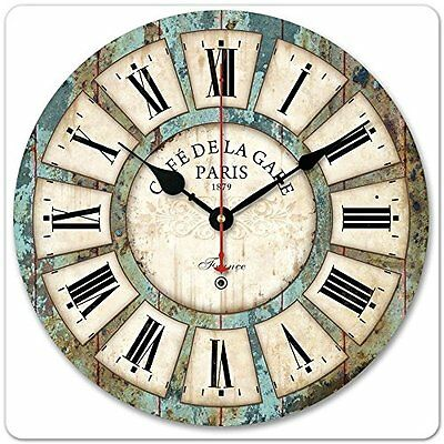 Vintage Roman Silent Large Wooden Wall Clock Numeral Rustic Kitchen Home Antique