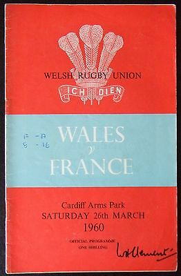 Wales v France 26/3/60   Rugby Union Programme