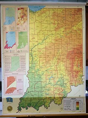 """Excellent Nystrom Pull Down School Poster Map Indiana A++ 38""""x 49"""""""