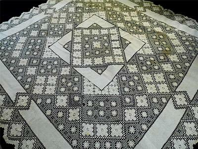 Exquisite Antique HandMade Mondano Netting Lace Linen Tablecloth