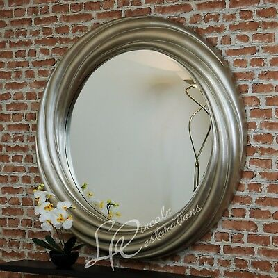 Round Swirl Large Contemporary Silver leaf Round Wall Hanging Mirror