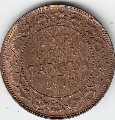 1913 Canada Large One Cent Coin – B U