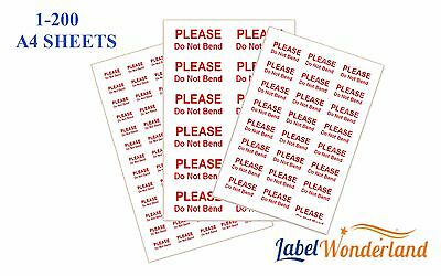 Please Do Not Bend Labels Self Adhesive Small, Medium, Large Stickers