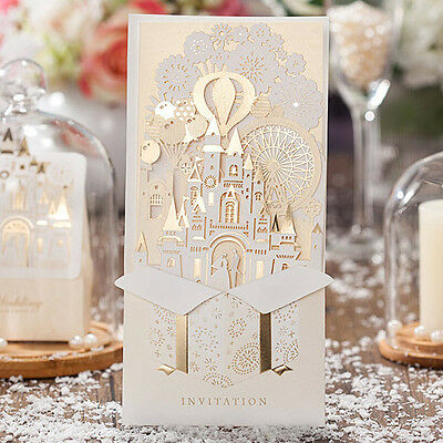 CW5093, Luxury Gold-White 3D Shiny Love Castle Wedding Invitations Cards