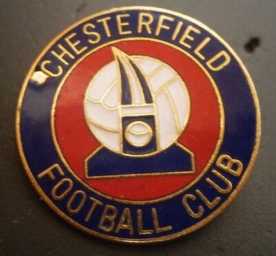 Chesterfield Football Club Crest Blue/Red Round Brooch Pin Badge