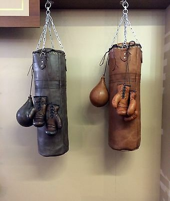 Vintage Retro Leather | Boxing Gym Punch Bag, Gloves, Punch Ball & Brass Fitting