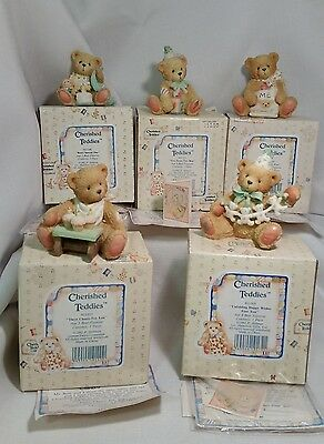 Cherished Teddies Birthday Bear Figures w/ boxes 1 to 5 years