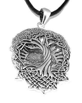 Celtic Knotwork Tree of Life Pendant (Silver Plated Pagan Necklace)