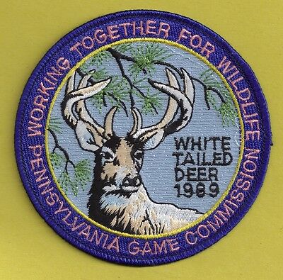 "Pa Pennsylvania Game Fish Commission NEW 1989 WTFW Whitetail Deer 4"" Cloth Patch"