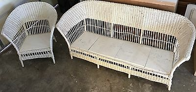 Antique White WICKER SOFA COUCH & CHAIR (circa 1899) Vintage SOLID PAIR