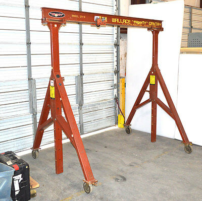 Wallace 29-8 Thrifty 1/2-Ton Gantry Crane Adjustable-Height Casters + Trolley