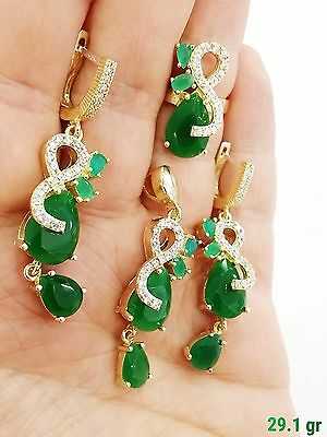 Sterling 925 Silver Handmade Jewelry Fabulous Emerald Earrings Ring Pendant Sets