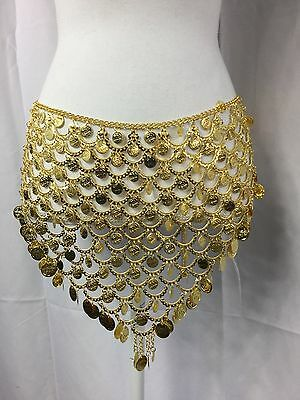 Women's Gold Coin Belly Dance Skirt Fits Most Sizes Chain Hip Scarf