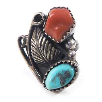 Vintage Navajo Sterling Silver Ring with Turquoise and Carnelian Size 4.75 5g