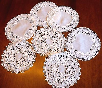 Antique Hand Made Mixed Italian Lace Coasters Cocktail Napkins  Needlelace
