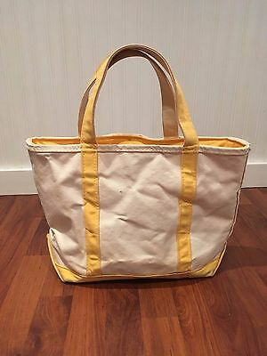LL Bean Boat and Tote Zip Medium Yellow Natural Made in USA Amazing Condition