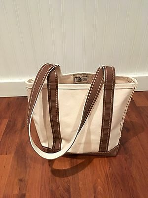 LL Bean Boat and Tote Small Brown Natural Long Straps Made in USA NWOT