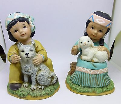 HOMCO Southwestern Little Boy and Little Girl #1452 Porcelain Figurines