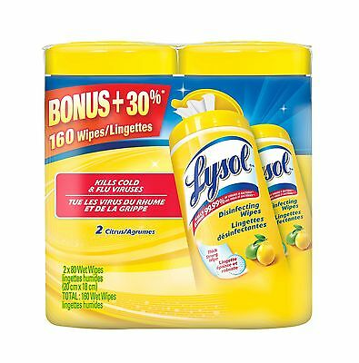 Lysol Disinfecting Surface Wipes Value Pack (2x80) Citrus 160 Count