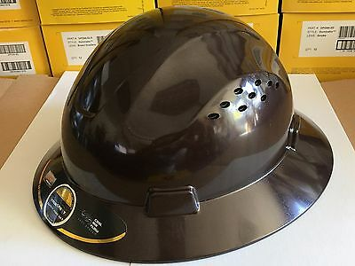 HDPE  Dark Tan Full Brim Hard Hat with Fas-trac Suspension