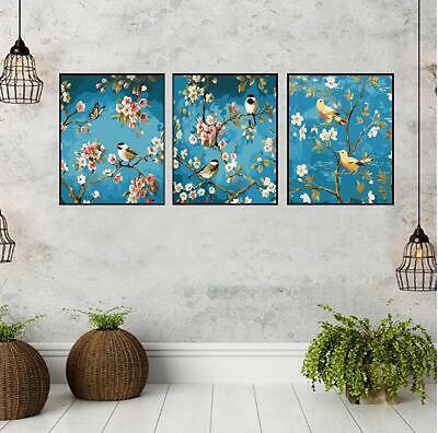 Set of Three Canvas Paint By Number Kit 3*40*50cm Birds Tree F3P014 S4 AU STOCK
