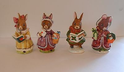 "4 Schmid Holiday Figurines 4 1/4""-4 1/2"", 3 Rabbits, 1 Mouse"