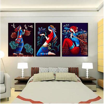 Set of Three Canvas Paint By Number Kit 3*40*50cm Girls F3P023 S4 AU STOCK