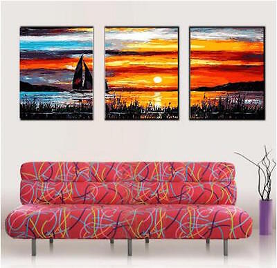 Set of Three Canvas Paint By Number Kit 3*40*50cm Sunset F3P025 S4 HOME DECOR