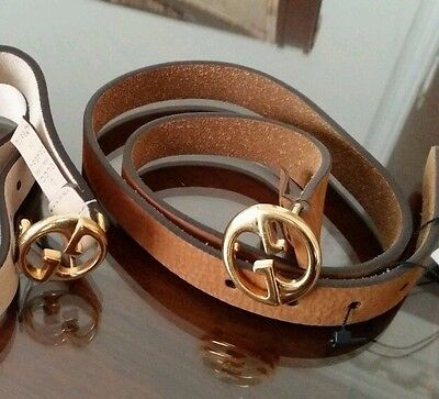 NWT NEW Gucci girls boys camel suede leather kids belt GG buckle S or M