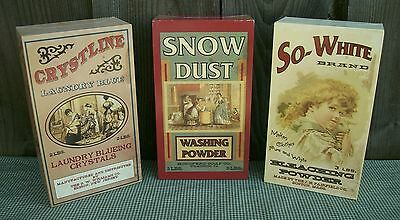 Set of 3 Vintage Antique Style Laundry Room Soap Powder Boxes-Country Primitive