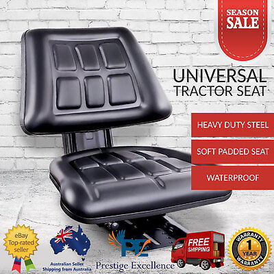 Universal Tractor Forklift Seat Excavator PU Leather Backrest Sliding Chair NEW