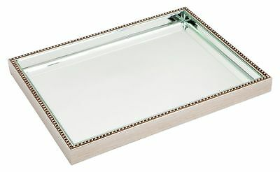 Large Antique finish beaded frame bevelled mirror tray mirrored serving tray