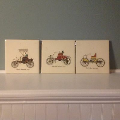Vintage Set Of 3 Ceramic Tile Antique Cars