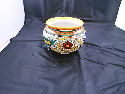 Deruta Italian Hand Painted Cachepot Footed Bowl Colorful Ceramic Pottery