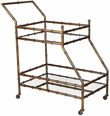 Antique Gold finished iron bamboo style frame drinks trolley  Mirrored trolley