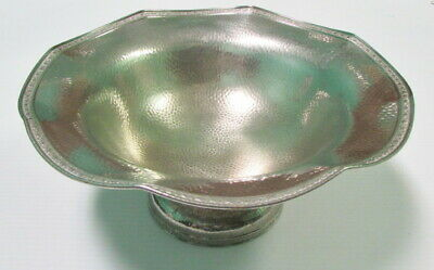 Hand Hammered Silver Plate Footed Bowl By Friedman Silver Co.