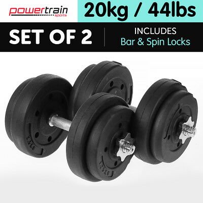 Powertrain 20kg Dumbbell Set Home Gym Fitness Exercise Free Weights Bar Plate
