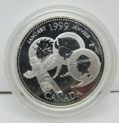 1999 Canada Commemorative Sterling Silver 25-Cent Proof Quarter Coin – January