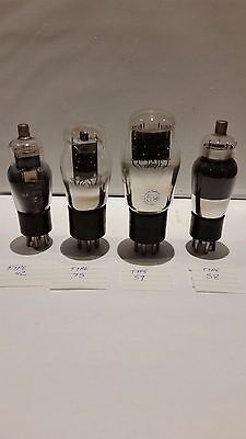 TYPES 59, 58, 75 and 42 VACUUM TUBE VALVES (4) UNTESTED  FREE SHIPPING.