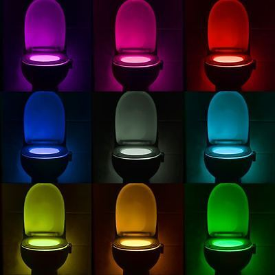 Stool LED Nightlight Motion Activated Toilet Seat Sensor Lamp 8 colors change