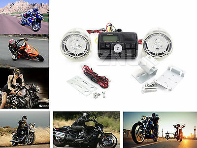 Top Bluetooth Motorcycle Audio Amplifier Stereo w/2Speaker System Power AMP