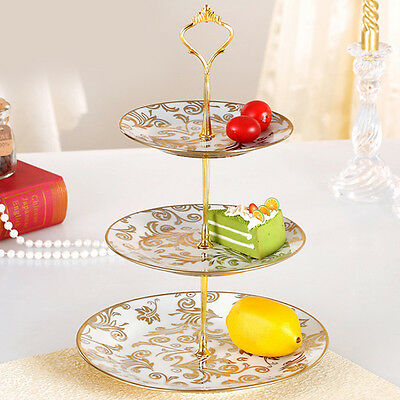 3Tier Cake Cupcake Plate Stand Crown Handle Fitting Rod Rack Wedding Party
